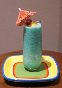Blue Curaçao Mixed with Coconut Rum and Cream